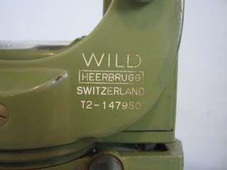 Wild Heerbrugg T2 Theodolite w/Metal Bullet & Plastic Case T2 147980