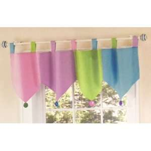 Color Tab Top Valance   60 W x 15 L   Pink Purple Green Blue White