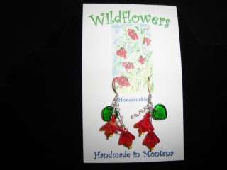 Handmade Honeysuckle Flower Glass Bead Dangle Earrings
