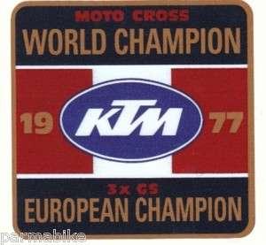 KTM sticker 1977 EUROPEAN WORLD CHAMPION Penton GS MX