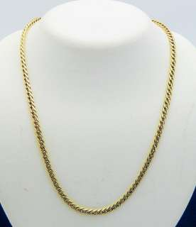 WHEAT DESIGN 20 INCH LONG NECKLACE SOLID 14K GOLD, 11.7g