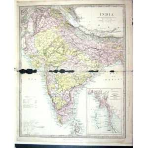 Harrow Antique Map 1880 India Ceylon Bay Siam Bengal