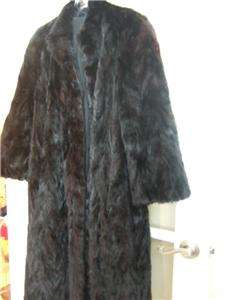 DARK RANCH MINK PAW FUR COAT, CHEVRON DESIGN