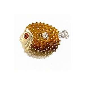 Reyes del Mar 14K Gold Blowfish Dia & Enamel Nautical