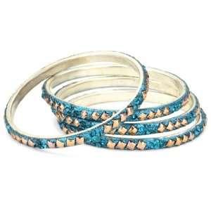 Chamak by priya kakkar 4 D. Firozi Crystal Bangle Bracelet with Copper