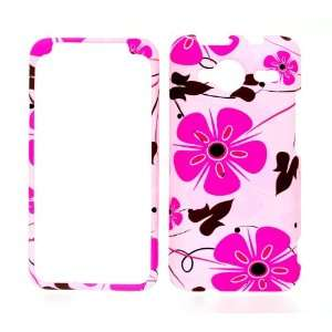 Pink Flower Rubberized Snap on Hard Protective Cover Case