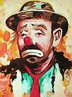 VINTAGE OIL PAINTING CANVAS PORTRAIT HOBO CIRCUS CLOWN