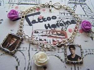 DARREN CRISS**PICTURE*PURPLE & WHITE ROSES** Charm Bracelet