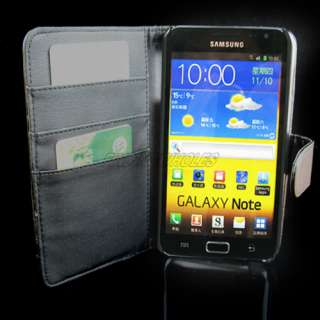 Samsung i9220 Galaxy Note GT N7000 Wallet Black Leather Case Cover