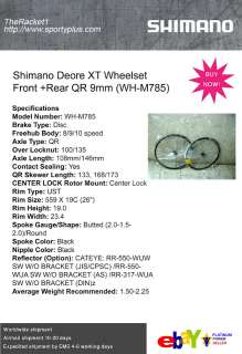 SHIMANO DEORE XT Wheelset Front+Rear 9mm QR WH M785 Mountain Bicycle