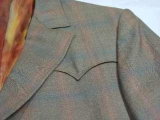 Vtg 60s Lasso Shiny Sharkskin Western 2 Pc Suit Jacket & Pants