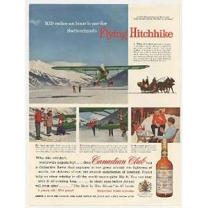 Airplane Skiing Canadian Club Whisky Print Ad