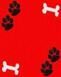 DOG PAW PRINTS AND BONES EMBROIDERY MACHINE DESIGN CD