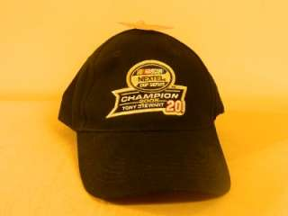 NWT #20 Tony Stewart Nextel Cup Championship 2005 BLACK Hat Ball Cap