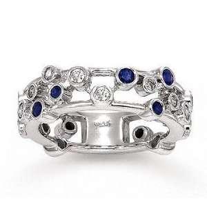14k White Gold Unique Diamond Blue Sapphire Fashion Ring Jewelry