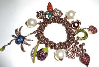 Betsey Johnson Spider Pearl Heart Charm Bronze Bracelet New Free