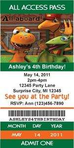 Dinosaur Train Ticket Style Birthday Party Invitations with Envelopes