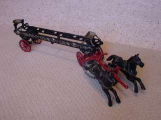 Original Cast Iron 2 Horse Drawn Fire Ladder Wagon   Horses Move