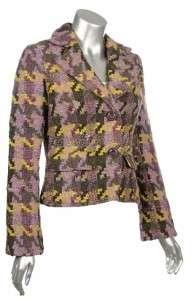 Sutton Studio Womens Textured Houndstooth Blazer Jacket  Assorted
