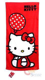 Sanrio Hello Kitty Beach, Bath Towel  Red Balloon 30x60