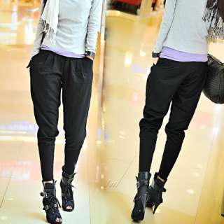 E6018 Japan Korea Fashion Top Black Harem Long Pants