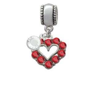 Open Heart with Red Swarovski Crystal Border Charm European Charm Bead