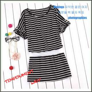 New Korea women stripe loose long tops mini dress Q354
