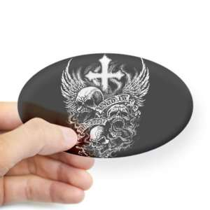 (Oval) God Is My Judge Skulls Cross and Angel Wings