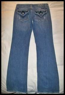 Womens MISS ME JEANS Embroidered TRIANGLE FLAP POCKETS Bootcut BUCKLE
