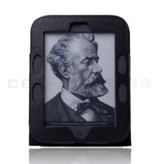 Barnes Noble Nook 2 Simple Touch 2nd Edition Black Leather Case Cover