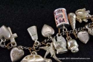 Vintage Sterling Silver Charm Bracelet Hearts Animals Skull Tank
