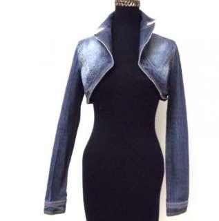Blue Stretch Denim Jean Cropped Super Short Jacket sz S Sexy