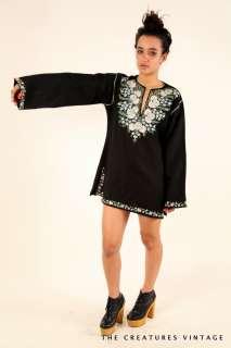 Vtg 70s Embrodered stella mccartney ESC floral Hippie v neck dress top