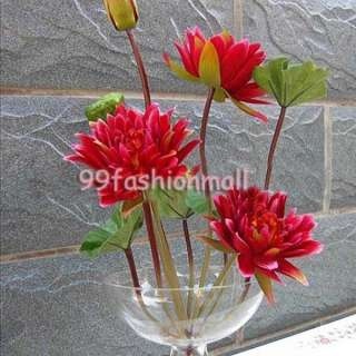 20 Artificial Autumn Water Lily Flowers Lotus Wedding Party Decor RED