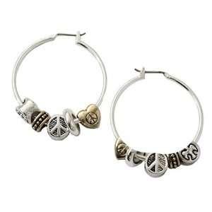 Two Tone Peace Charm Hoop Earrings Fashion Jewelry