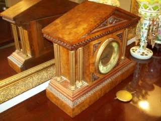 ANTIQUE MANTEL SHELF CLOCK BROWN & GOLD ORNATE DESIGN RARE FIND