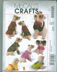 McCalls Craft Pet Dog Clothes Accessories Sewing Pattern McCalls