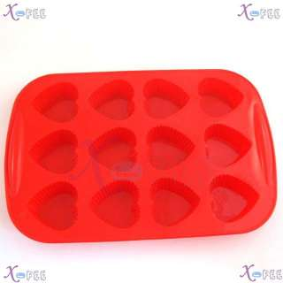 DIY FOOD RED Kitchen 12 Heart Shape Silicone Bakeware Baking Mold
