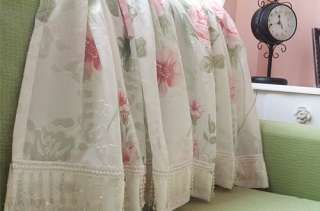 Shabby White Country Chic Pink Roses Lace Drawnwork Curtain
