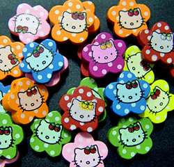 Hello Kitty wood beads for crafts jewelry bracelets necklaces bling