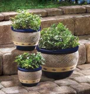 COBALT BLUE Ceramic Garden Flower Pots PLANTER Set TRIO