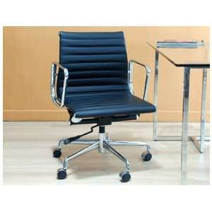 Aluminum Group Chair in Leather on Wheels