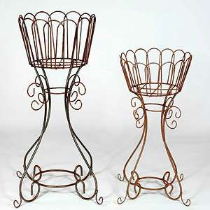 37 Wrought Iron Deep Basket Plant Stand   Metal Flower Holder for