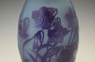 C1920 FRENCH CAMEO ART GLASS BLUE VASE W/ BELL FLOWERS SIGNED D