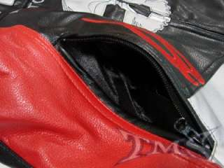 TMS RED/BLK ARMOR SKULL MOTORCYCLE JACKET SPORT BIKE~XL