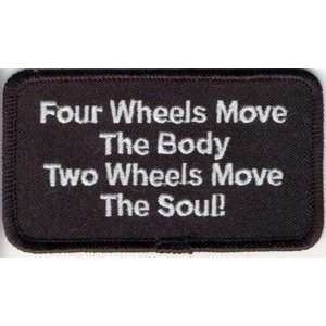 WHEELS MOVE THE BODY Fun Quality Biker Vest Patch!: Everything Else