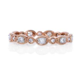 18k Rose Gold Diamond Antique Style Eternity Wedding Band Ring