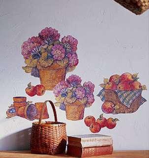 Apple Baskets Flower Pots Market Basket Wall Art Murals