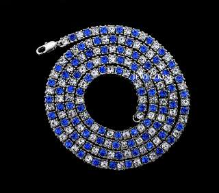 ROW BLUE/CLEAR ICED OUT HIP HOP BLING CHAIN NECKLACE