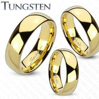 Tungsten Carbide Gold IP Shiny Finish Traditional engagement ring